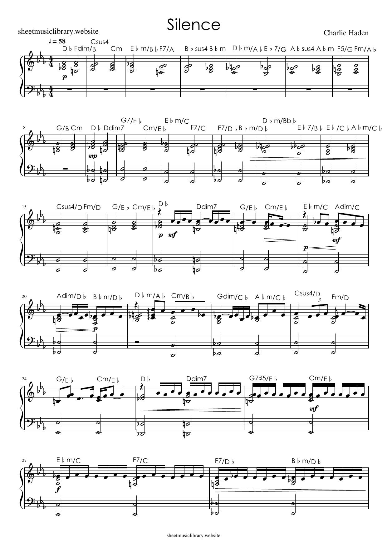 silence sheet music download partitura partition spartiti