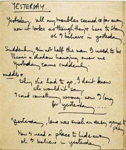 the beatles yesterday handwritten lyrics