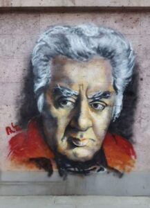 A mural of Khachaturian painted by Robert Nikoghosyan near the Yerevan Vernissage in July 2015.